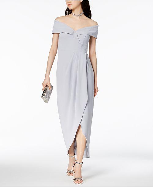 Off-The-Shoulder Tulip-Hem Gown
