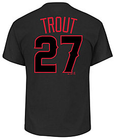 Majestic Men's Mike Trout Los Angeles Angels Pitch Black Player T-Shirt