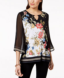 JM Collection Embellished Chiffon Tunic, Created for Macy's