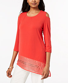 JM Collection Studded Asymmetrical Tunic, Created for Macy's