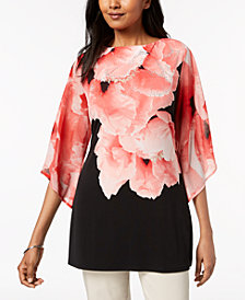 JM Collection Embellished Angel-Sleeve Tunic, Created for Macy's