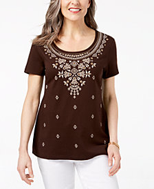 Karen Scott Puff Print T-Shirt, Created for Macy's