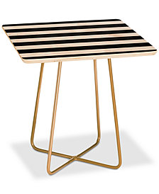 Deny Designs Monika Strigel Farmhouse Shabby Stripes Black Square Side Table