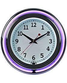 "Double Ring 14"" Neon Purple Clock"