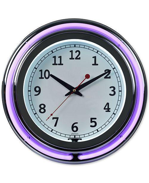 "Trademark Global Double Ring 14"" Neon Purple Clock"
