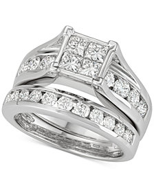 Diamond Princess Channel-Set Bridal Set (2 ct. t.w.) in 14k White Gold