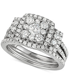 Diamond Square Cluster Bridal Set (1-1/2 ct. t.w.) in 14k White Gold