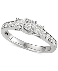 Diamond Three-Stone Engagement Ring (1 ct. t.w.) in 14k White Gold
