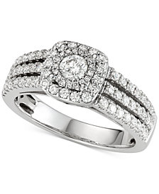Diamond Three-Row Cluster Engagement Ring (1 ct. t.w.) in 14k White Gold