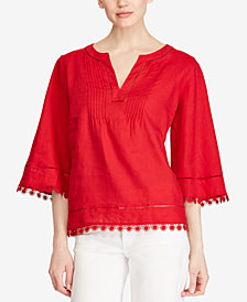 Lauren Ralph Lauren Lace-Trim Linen Top