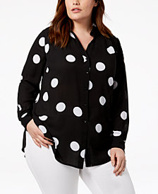 I.N.C. Plus Size Dot-Print Blouse, Created for Macy's