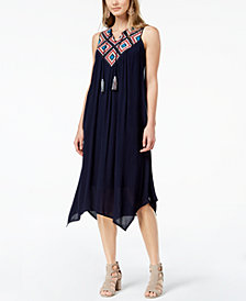 John Paul Richard Petite Embroidered Handkerchief-Hem Dress