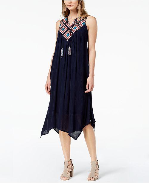 99a5f9f691b Petite Embroidered Handkerchief-Hem Dress. 1 reviews. main image  main  image ...