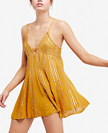 Free People Here She Is Embellished Slip Dress