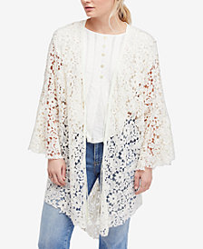 Free People Move Over Cotton Lace Kimono Robe