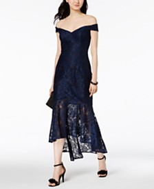 XSCAPE Petite Off-The-Shoulder Lace Dress
