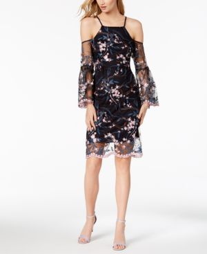 Nanette by Nanette Lepore Floral Embroidered Cold-Shoulder Dress, Created for Macy's 5905366