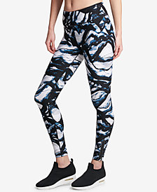 DKNY Sport Smoke-Print High-Waist Ankle Leggings