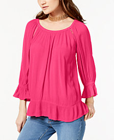 I.N.C. Petite Crochet-Trim Peasant Top, Created for Macy's