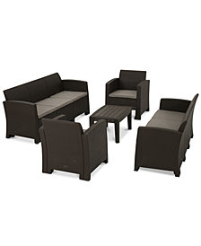 Nealan 5-Pc. Outdoor Chat Set (2 Sofas, 2 Club Chairs & 1 Coffee Table), Quick Ship