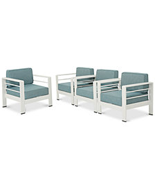 San Pico Outdoor Club Chairs (Set of 4), Quick Ship