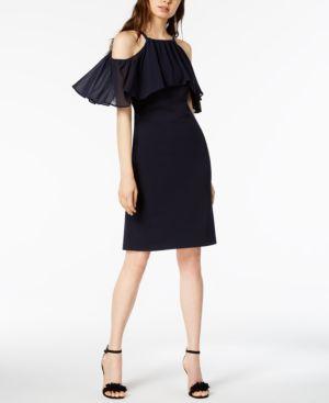 Vince Camuto Cold-Shoulder Flounce Dress 6160453