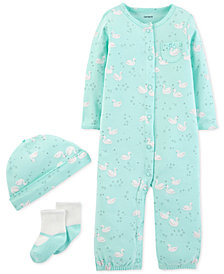 Carter's Baby Girls 3-Pc. Swan-Print Hat, Convertible Coverall & Socks Set
