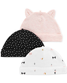 Carter's Baby Girls 3-Pk. Roll-Cuffed Caps