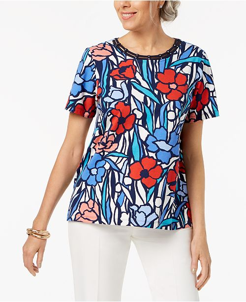 Alfred Print T Multi Neck Dunner Glass Stained Petite Shirt Cutout rnqrx1gU