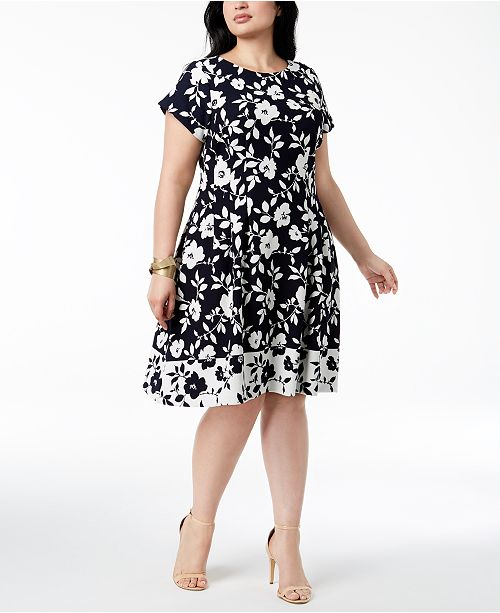 ee47dac11d Jessica Howard Plus Size Floral-Print Fit   Flare Dress   Reviews ...
