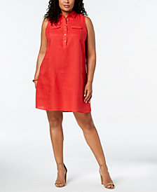 Charter Club Plus Size Linen Shirtdress, Created for Macy's