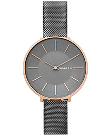 Skagen Women's Karolina Dark Gray Stainless Steel Mesh Bracelet Watch 38mm