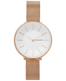 Skagen Women's Karolina Rose Gold-Tone Stainless Steel Mesh Watch 38mm