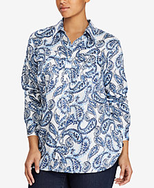 Lauren Ralph Lauren Plus Size Paisley-Print Cotton Shirt