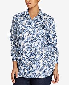 Lauren Ralph Lauren Plus Size Paisley-Print Cotton Shirt