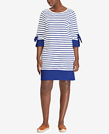Lauren Ralph Lauren Plus Size Scoop Neck Cotton Dress