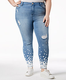 Celebrity Pink Plus Size Star-Print Distressed Skinny Jeans