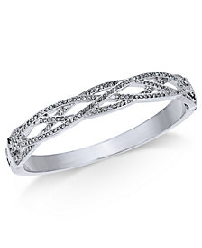Charter Club Silver-Tone Woven Pavé Hinged Bangle Bracelet, Created for Macy's