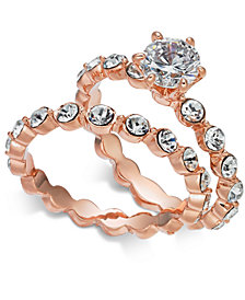 Charter Club Rose Gold-Tone 2-Pc. Set Crystal Rings, Created for Macy's
