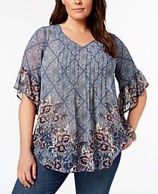 Style & Co Plus Size Printed Pintucked Tunic, Created for Macy's
