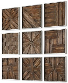 Uttermost Bryndle 9-Pc. Rustic Wooden Squares Wall Art Set