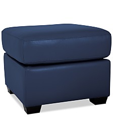 Orid Leather Ottoman, Created for Macy's