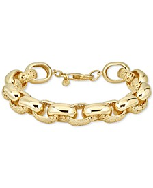 Filigree & Polished Link Bracelet in 14k Gold-Plated Sterling Silver