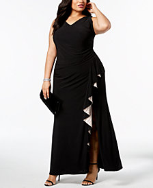 Betsy & Adam Plus Size Sleeveless Ruffled Gown
