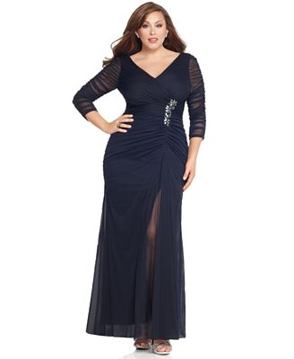 adrianna papell plus size three-quarter-sleeve ruched gown