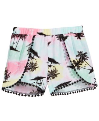 Little Girls Printed Pom Pom-Trim Shorts, Created for Macy's