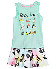 Epic Threads Little Girls Beach Time Tank Top & Printed Skirt, Created for Macy's
