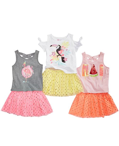 b82afadf ... Epic Threads Toddler Girls Cold Shoulder Parrot T-Shirt, Tulle Skirt &  Tank Top ...
