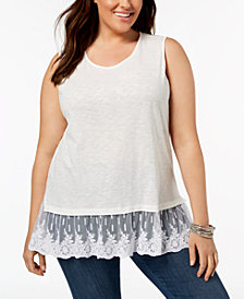 Style & Co Plus Size Flounce Mesh-Hem Tank Top, Created for Macy's