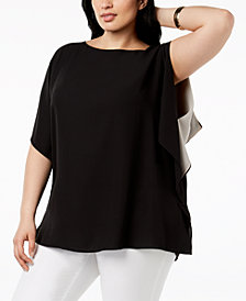 Anne Klein Plus Size Ruffled-Sleeve Top